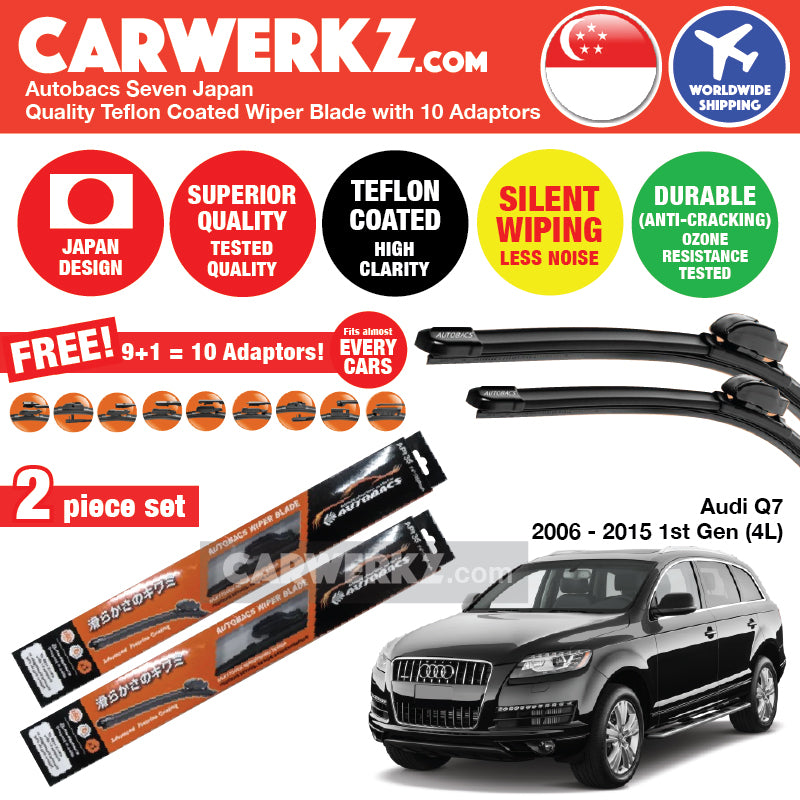 "Autobacs Seven Japan Teflon Coated Flex Aerodynamic Wiper Blade with 10 Adaptors for Audi Q7 2006-2015 1st Generation (Facelift) (Typ: 4L) (26""+24"") - CarWerkz"