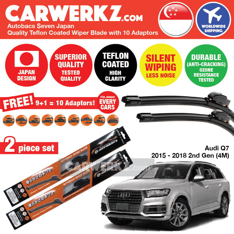 Autobacs Seven Japan Teflon Coated Flex Aerodynamic Wiper Blade with 10 Adaptors for Audi Q7 2016-2018 2nd Generation (Typ 4M) (26 inch + 20 inch) - CarWerkz