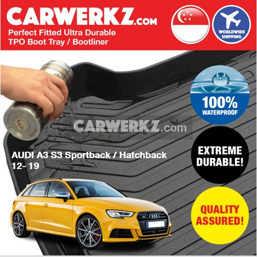 Audi A3 S3 Sportback / Hatchback 2012-2019 Ultra Durable TPO Boot Tray Bootliner - CarWerkz