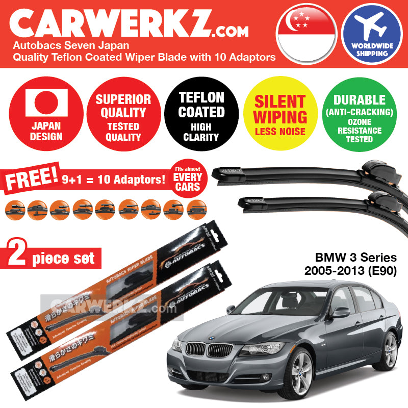 "Autobacs Seven Japan Teflon Coated Flex Aerodynamic Wiper Blade with 10 Adaptors for BMW 3 Series 2005-2013 5th Generation (E90) (24""+19"")"