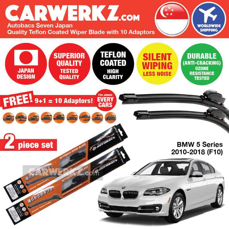 "Autobacs Seven Japan Teflon Coated Flex Aerodynamic Wiper Blade with 10 Adaptors for BMW 5 Series 2010-2018 F10 (26""+18"") - CarWerkz"