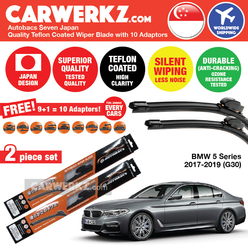 Autobacs Seven Japan Teflon Coated Flex Aerodynamic Wiper Blade with 10 Adaptors for BMW 5 Series 2017-2018 7th Generation (G30) (26 inch +19 inch) - CarWerkz