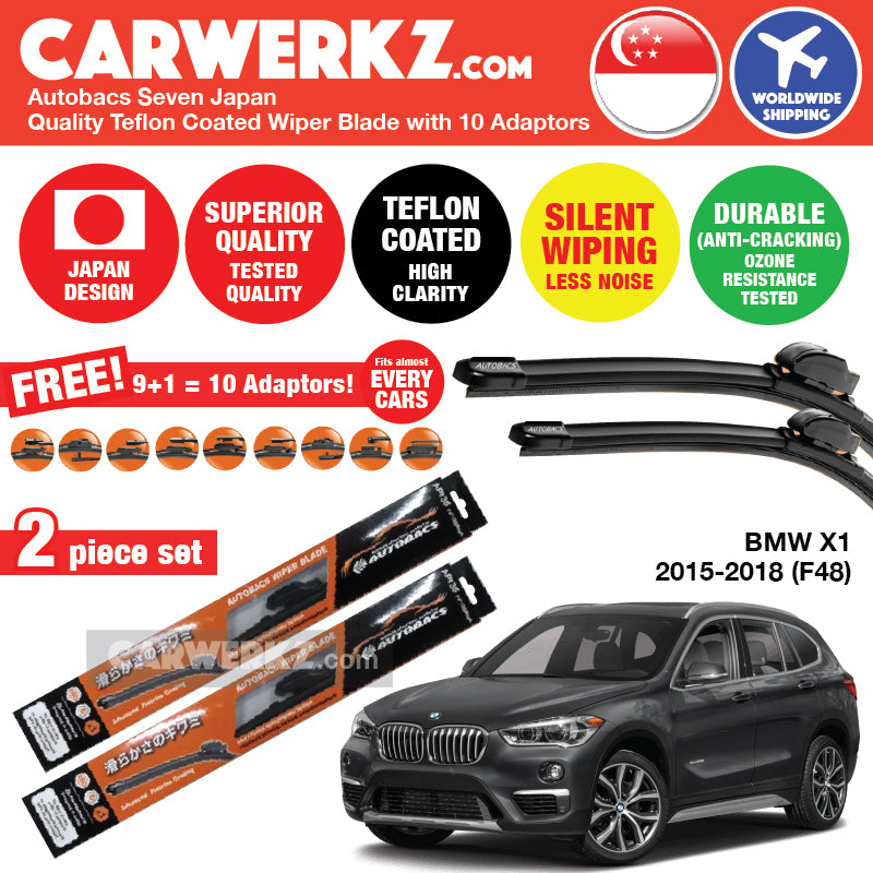 Autobacs Seven Japan Teflon Coated Flex Aerodynamic Wiper Blade with 10 Adaptors for BMW X1 2015-2018 2nd Generation (F48) (26 inch + 16 inch) - CarWerkz