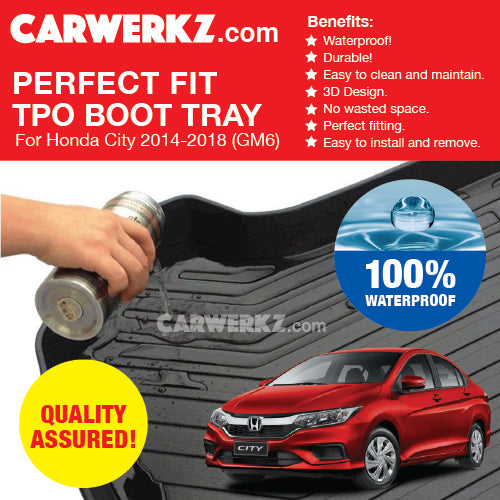 Honda City Grace 2014-2018 6th Generation (GM6) Perfect Fit Waterproof Boot Tray - CarWerkz