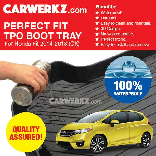 Honda Fit Jazz 2014-2018 3rd Generation (GK5) Perfect Fit Waterproof TPO Boot Tray - CarWerkz