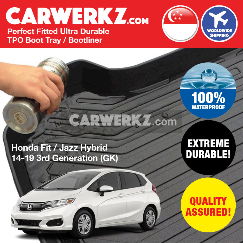 Honda Fit Jazz Hybrid 2014-2019 3rd Generation (GK5) Ultra Durable TPO Boot Tray Bootliner - CarWerkz
