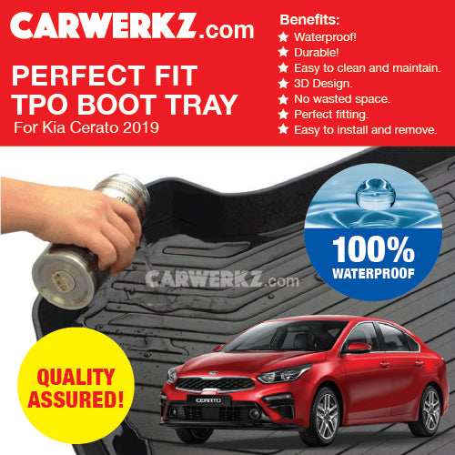 Kia Cerato Forte 2019 3rd Generation (BD) Ultra Durable TPO Boot Tray Bootliner - CarWerkz