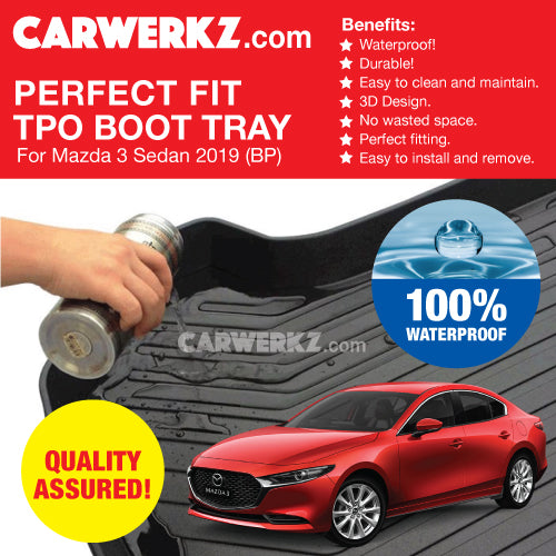 Mazda 3 Axela Sedan 2019-2020 4th Generation (BP) Japan Sedan Customised Car Trunk Perfect Moulded Ultra Durable TPO 3D Boot Tray