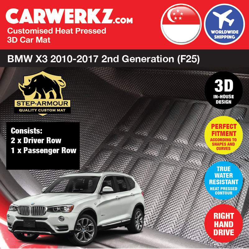 STEP ARMOUR™ BMW X3 2010-2017 2nd Generation (F25) Customised Luxury German Compact SUV Customised 3D Car Mat - CarWerkz