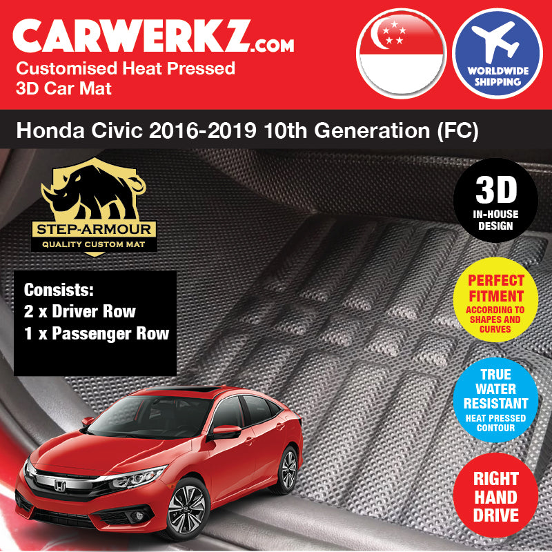 STEP ARMOUR™ Honda Civic 2016-2019 10th Generation (FC) Japan Sedan Car Customised 3D Car Mat - CarWerkz