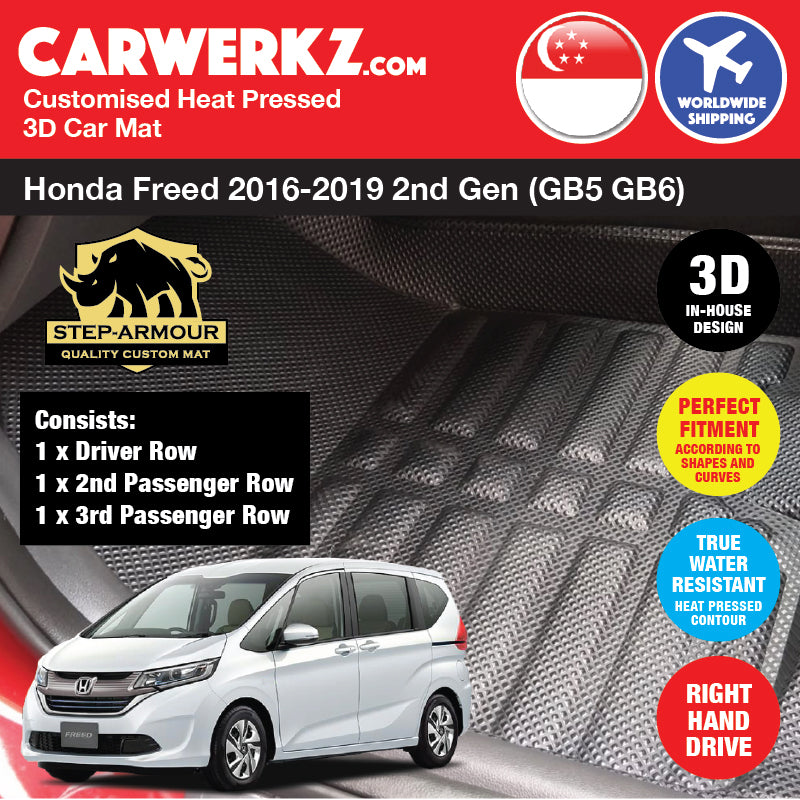 STEP ARMOUR™ Honda Freed 2016 2017 2018 2019 2nd Generation (GB5 GB6) Japan Compact MPV Customised 3D Car Mat - carwerkz sg au my