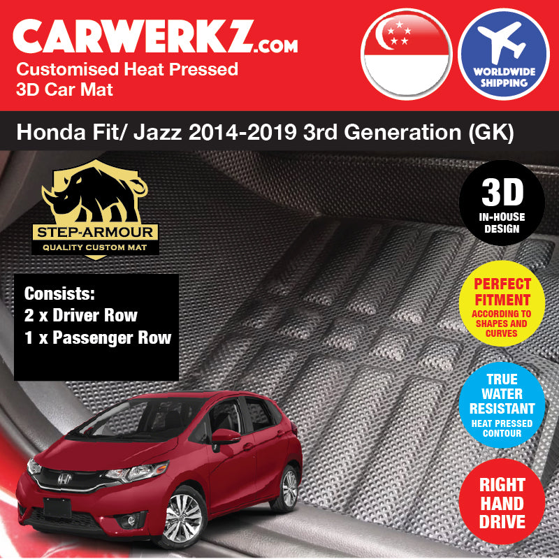 STEP ARMOUR™ Honda Fit Jazz 2014-2019 3rd Generation (GK) Japan Hatchback Customised 3D Car Mat - CarWerkz