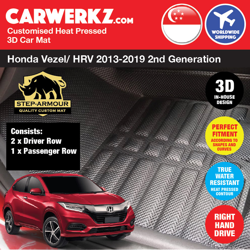 STEP ARMOUR™ Honda Vezel HRV Petrol Hybrid 2013-2019 2nd Generation Japan Subcompact Crossover SUV Customised 3D Car Mat - CarWerkz