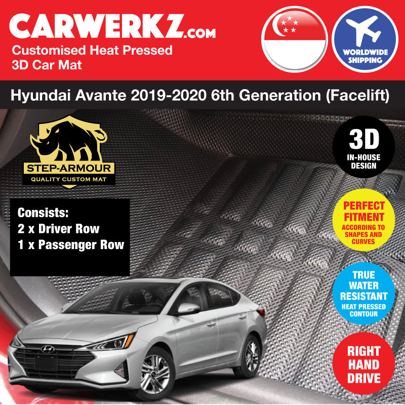 STEP ARMOUR™ Hyundai Avante Elantra 2019-2020 6th Generation (Facelift) Korean Sedan Car Customised 3D Car Mat - CarWerkz