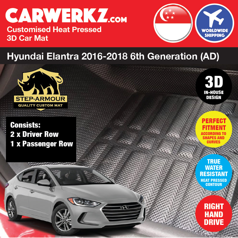 STEP ARMOUR™ Hyundai Elantra 2016-2018 6th Generation (AD) Korean Sedan Car Customised 3D Car Mat - CarWerkz