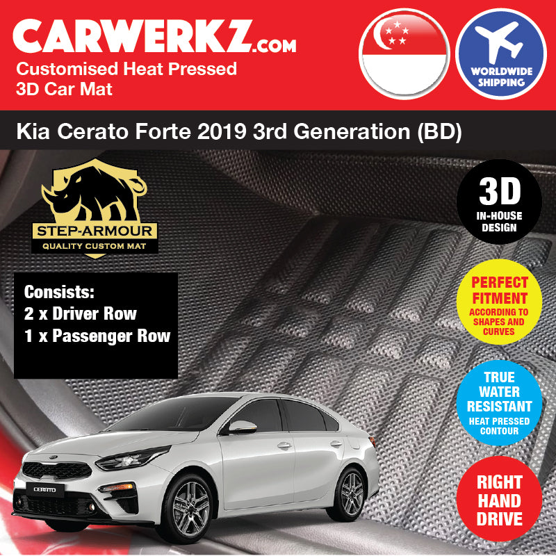 STEP ARMOUR™ Kia Cerato Forte 2019 3rd Generation (BD) Korea Sedan Car Customised 3D Car Mat - CarWerkz