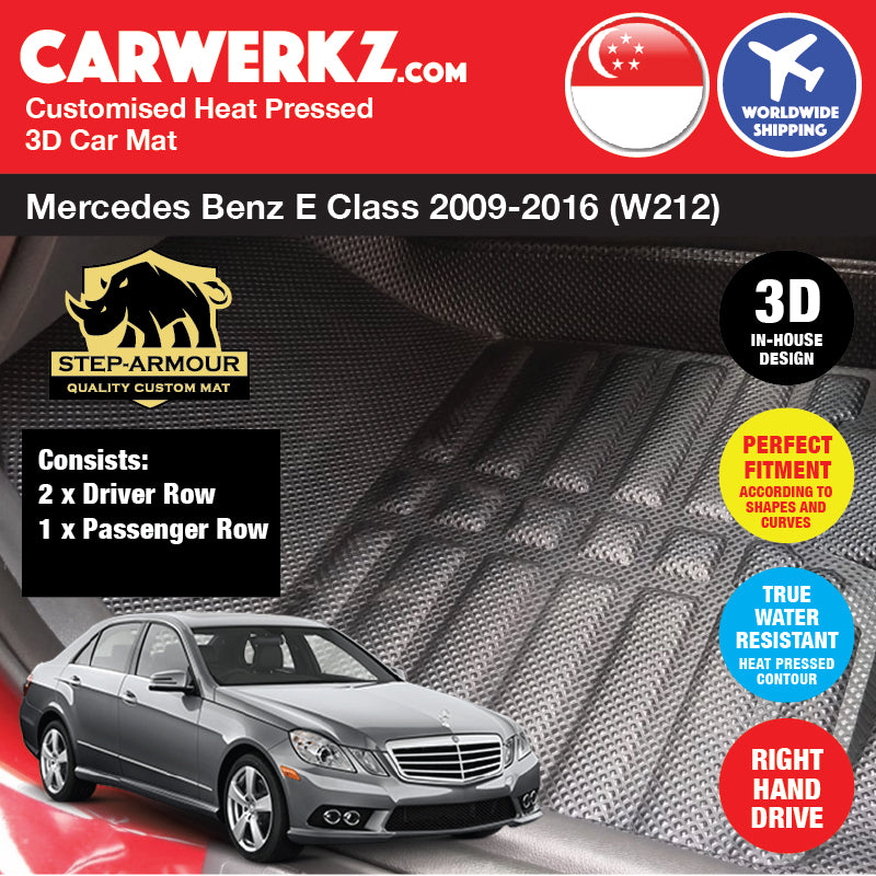 STEP ARMOUR™ Mercedes Benz E Class 2009-2016 4th Generation (W212) Germany Executive Sedan Car Customised 3D Car Mat - CarWerkz