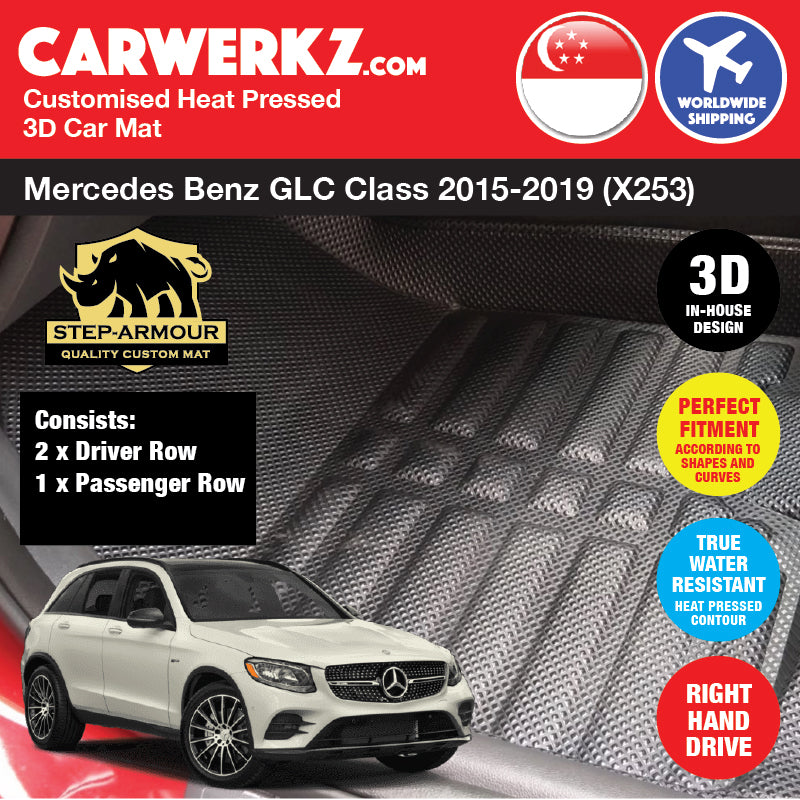 STEP ARMOUR™ Mercedes Benz GLC Class 2015 2016 2017 2018 2019 (X253) Germany Compact Luxury Crossover SUV Customised 3D Car Mat - carwerkz sg au br in jp