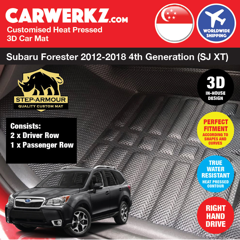 STEP ARMOUR™ Subaru Forester 2012 2013 2014 2015 2016 2017 2018 4th Generation (SJ XT) Japan Subcompact Crossover SUV Customised 3D Car Mat - carwerkz sg my au jp in