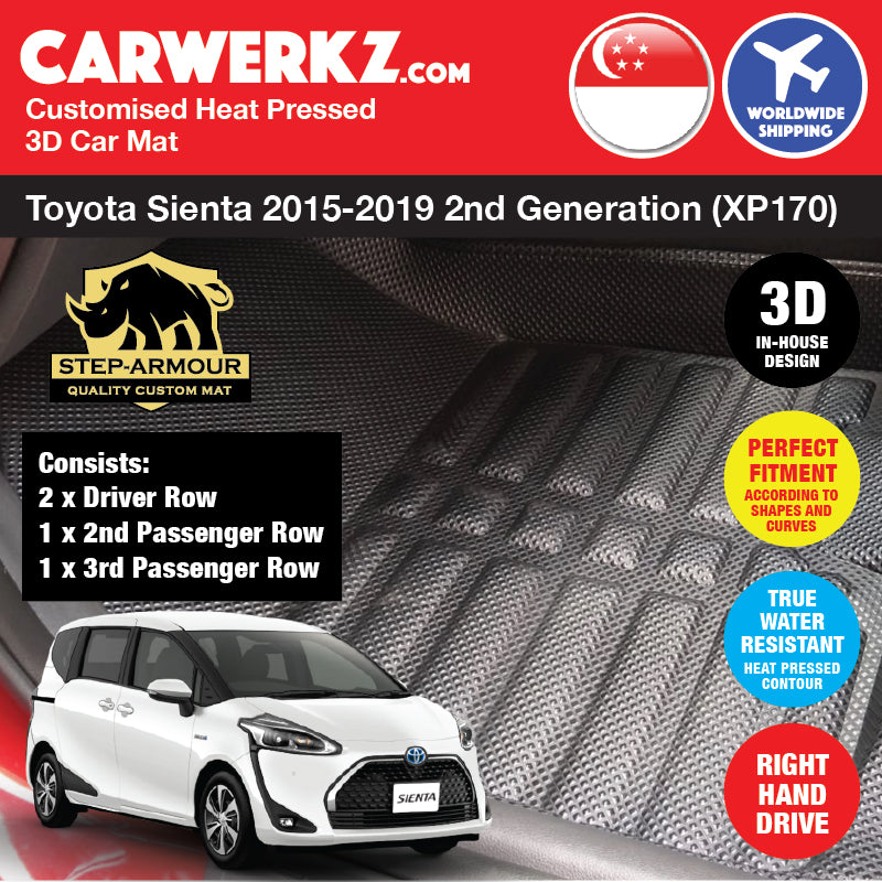 STEP ARMOUR™ Toyota Sienta 2015-2019 2nd Generation (XP170) Japan Mini MPV Customised 3D Car Mat - CarWerkz