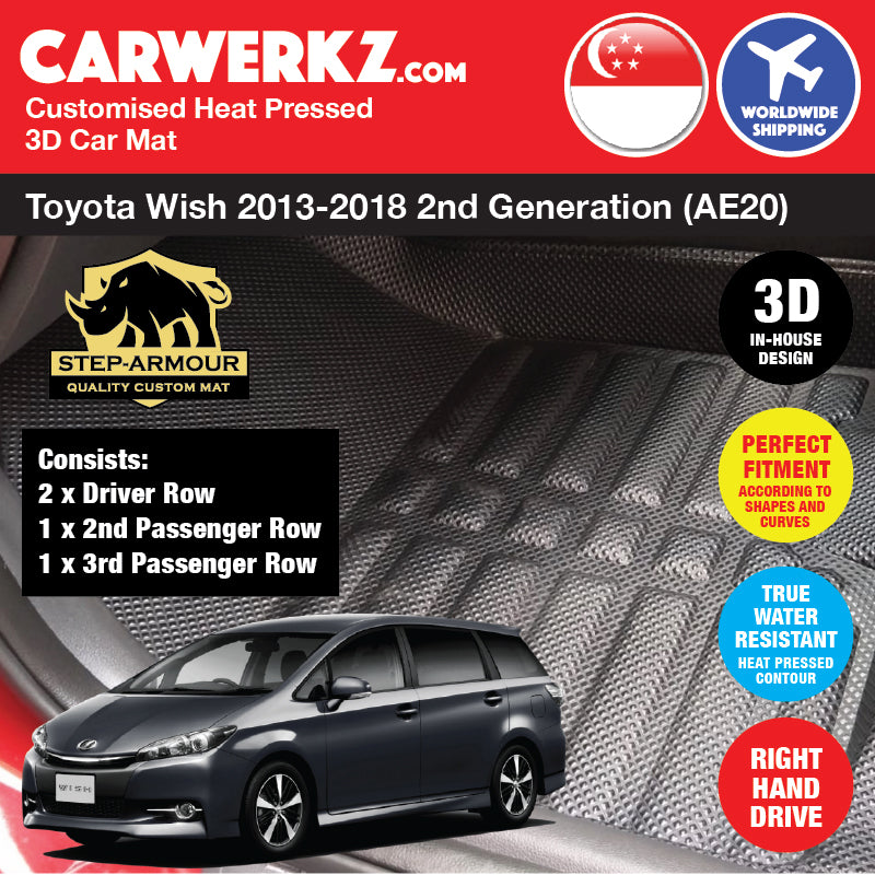 STEP ARMOUR™ Toyota Wish 2013-2018 2nd Generation (AE20) Japan MPV Customised 3D Car Mat - carwerkz sg au my br jp