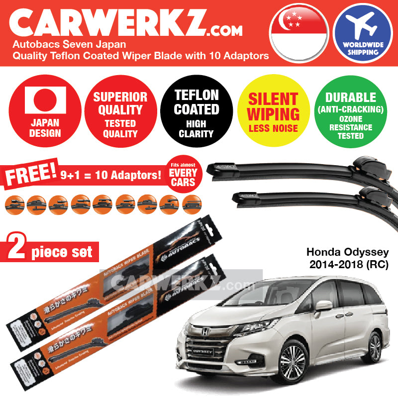 "Autobacs Seven Japan Teflon Coated Flex Aerodynamic Wiper Blade with 10 Adaptors for Honda Odyssey 2014-2019 5th Generation (RC) (28""+14"") - CarWerkz"