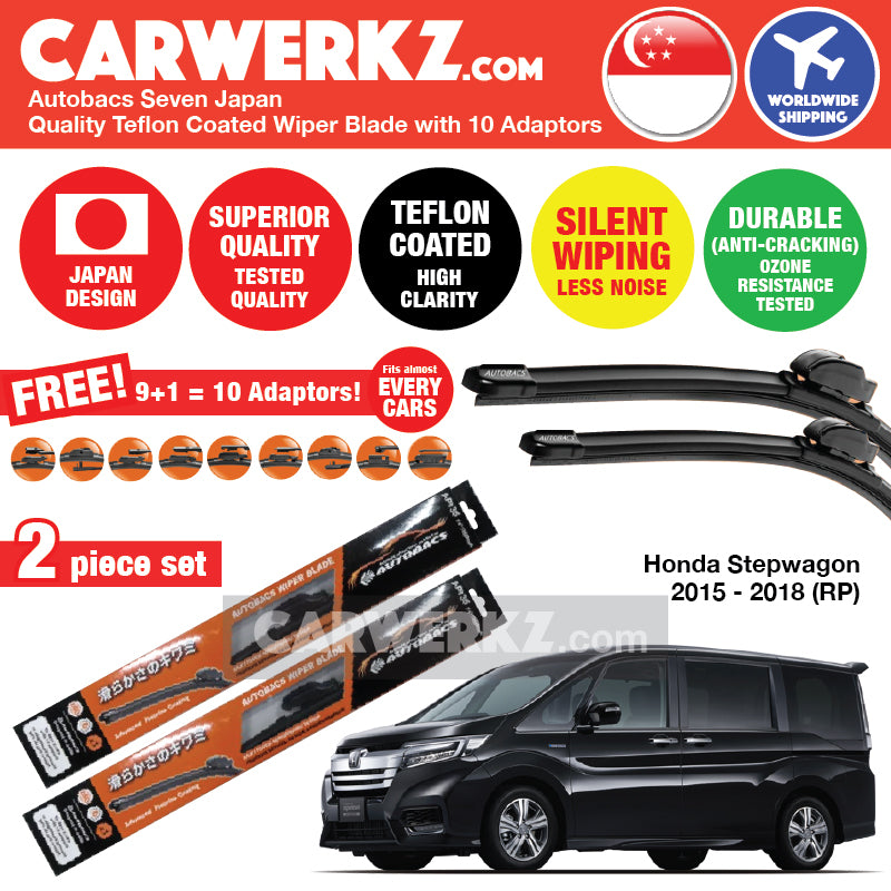 "Autobacs Seven Japan Teflon Coated Flex Aerodynamic Wiper Blade with 10 Adaptors for Honda Stepwgn Stepwagon Spada 2015-2019 5th Generation (RP) (28""+14"") - CarWerkz"