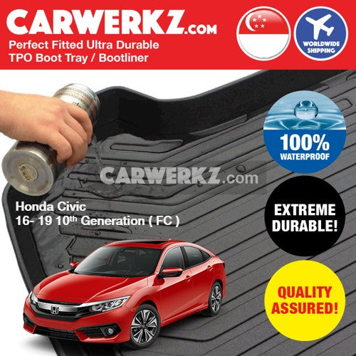 Honda Civic 2015-2020 10th Generation (FC) Japan Sedan Customised Car Trunk Perfect Moulded Ultra Durable TPO 3D Boot Tray - CarWerkz