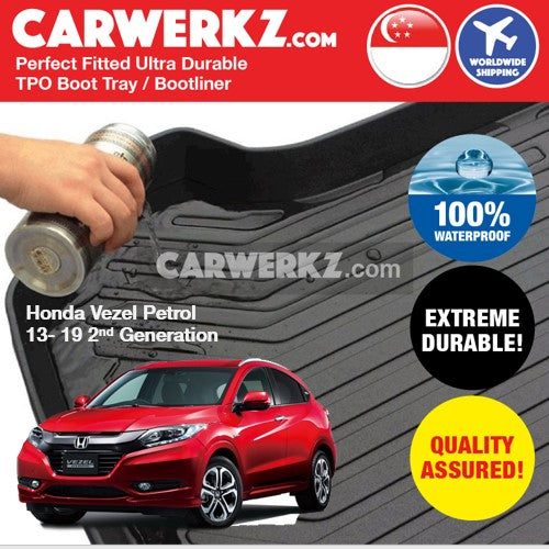 Honda Vezel Petrol 2013-2020 2nd Generation Japan Subcompact Crossover Trunk Perfect Moulded Ultra Durable TPO 3D Boot Tray - CarWerkz