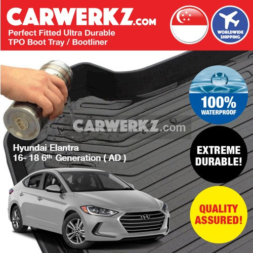 Hyundai Elantra 2016-2018 6th Generation (AD)Ultra Durable TPO Boot Tray Bootliner - CarWerkz
