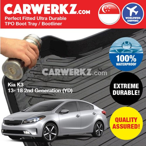 Kia Cerato K3 2013-2018 2nd Generation (YD) Korea Sedan Customised Car Trunk Perfect Moulded Ultra Durable TPO 3D Boot Tray - CarWerkz