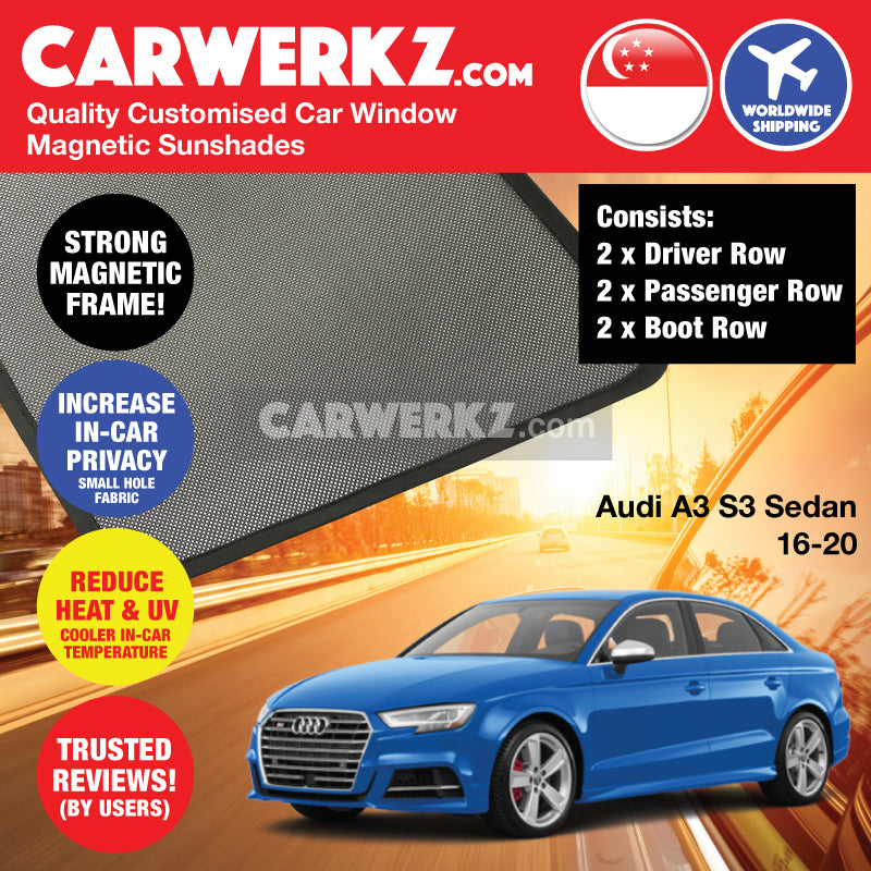 Audi A3 S3 Sedan 2013-2020 3rd Generation (8V) Customised Germany Car Window Magnetic Sunshades 6 Pieces - CarWerkz