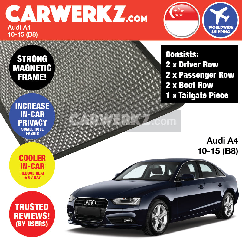 Audi A4 S4 Sedan (Facelift) 2010-2015 4th Generation (B8) Customised Germany Car Window Magnetic Sunshades