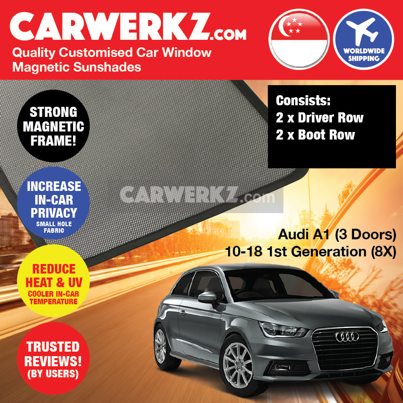 Audi A1 2010-2018 3 Doors 1st Generation (8X) Germany Supermini Sportback Hatchback Car Customised Magnetic Sunshades 4 Pieces - CarWerkz