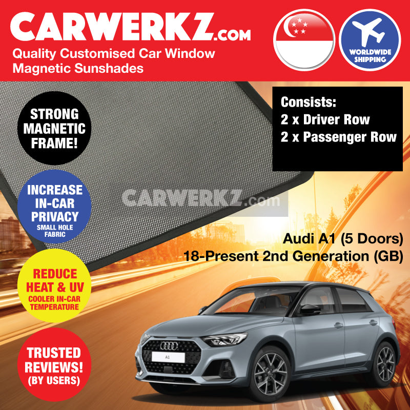Audi A1 2018-Present (5 Doors) 2nd Generation (GB) Germany Supermini Sportback Hatchback Car Customised Magnetic Sunshades 4 Pieces - CarWerkz Singapore