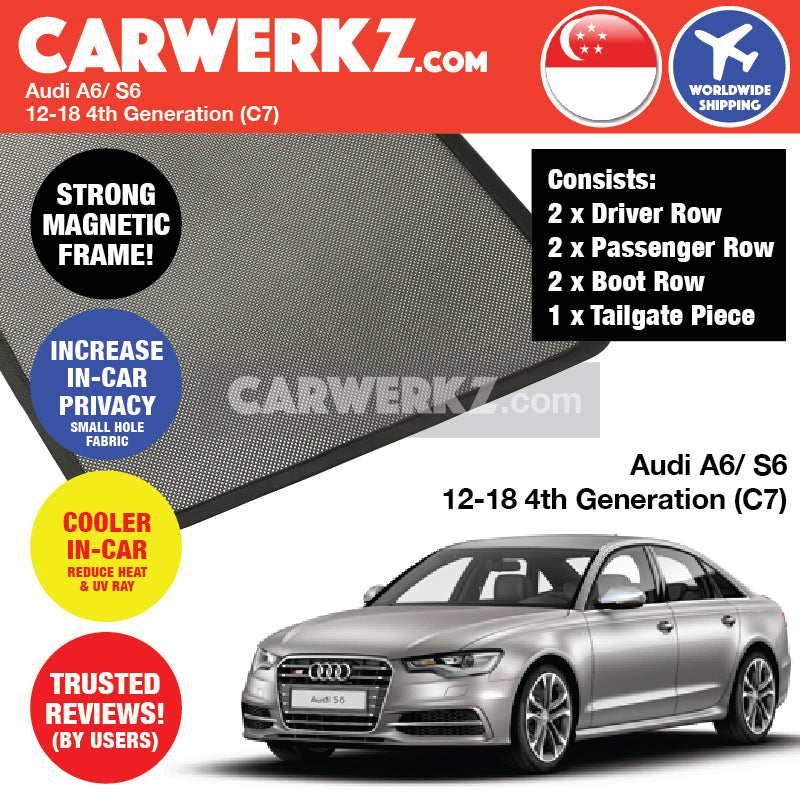 Audi A6 S6 2012-2019 (C7) 4th Generation Customised German Sedan Car Window Magnetic Sunshades + Rear Tailgate Sunshade (FULL SET) - CarWerkz