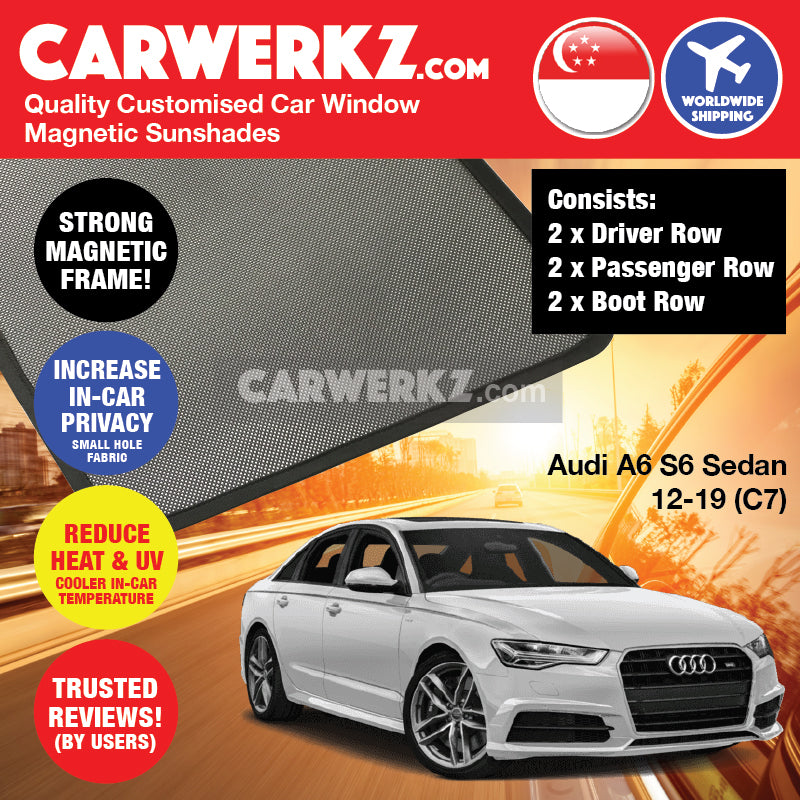 Audi A6 S6 2012-2019 4th Generation (C7) Customised Germany Luxury Sedan Car Window Magnetic Sunshades 6 pieces - CarWerkz