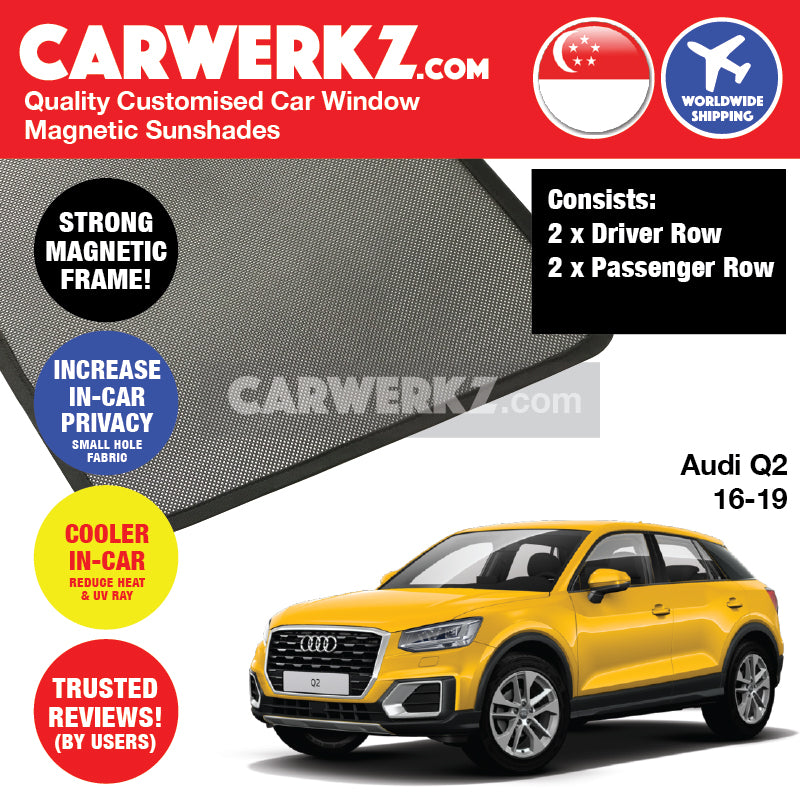 Audi Q2 2016-2019 Customised German Luxury Compact Crossover SUV Window Magnetic Sunshades 4 Pieces - CarWerkz