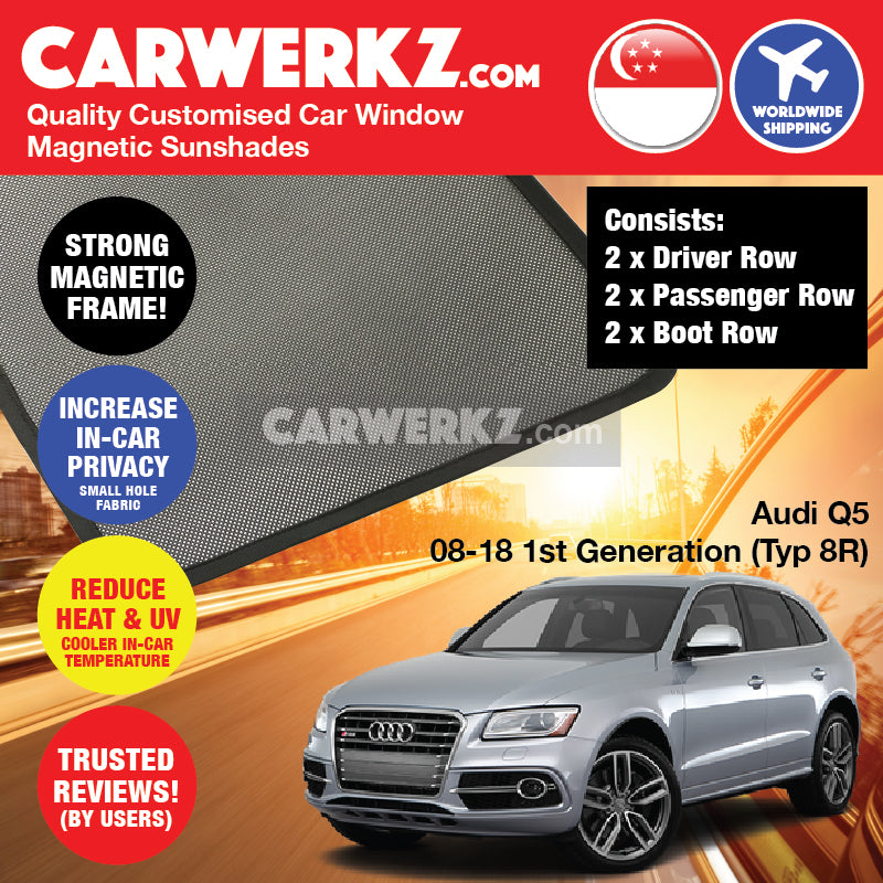 Audi Q5 2008-2018 1st Generation (Typ: 8R) Customised German Luxury SUV Window Rear Tailgate Sunshade 1 Piece - CarWerkz