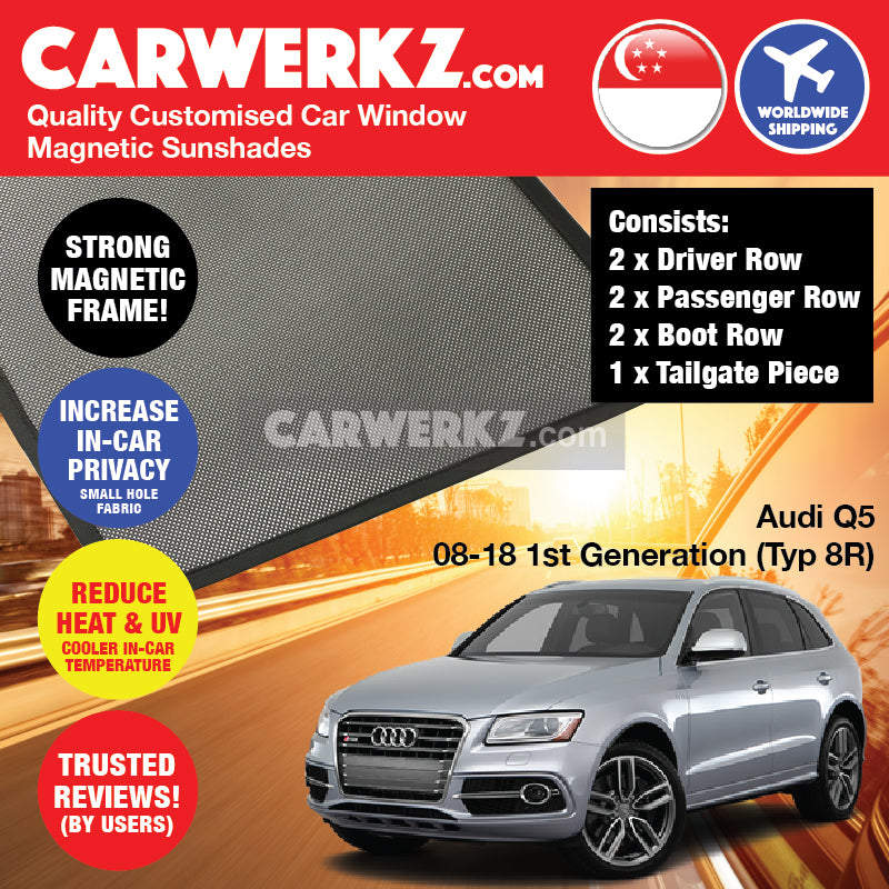 Audi Q5 2008-2018 1st Generation (Typ: 8R) Customised German Luxury SUV Window Rear Magnetic Sunshades 7 Pieces FULL SET - CarWerkz