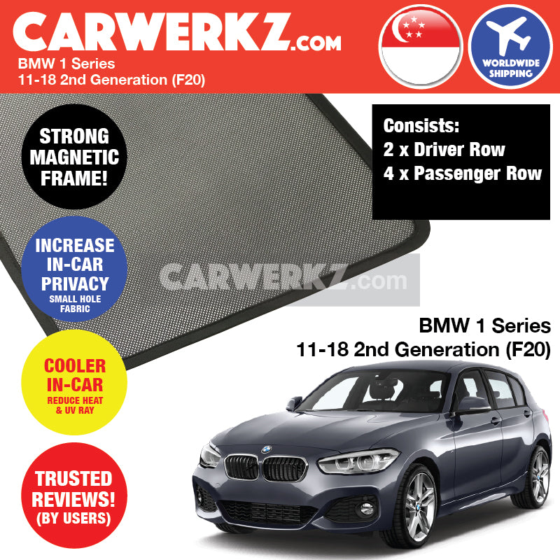 BMW 1 Series 2011-2019 2nd Generation (F20) Customised Luxury German Hatchback Car Window Magnetic Sunshades 6 Pieces - CarWerkz