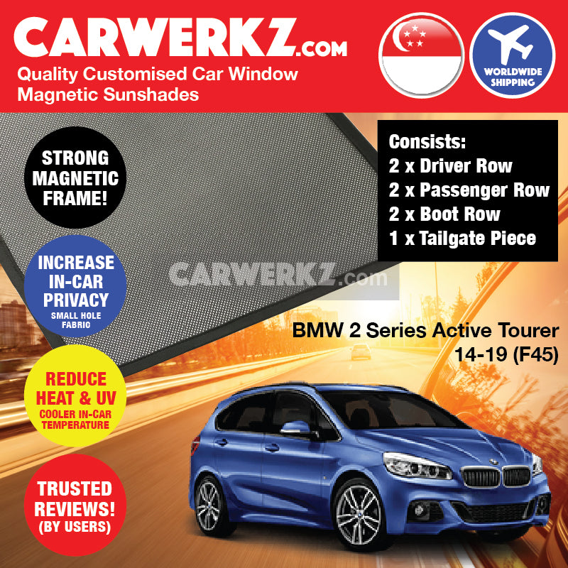 BMW 2 Series Active Tourer 2014-2020 1st Generation (F45) Customised Luxury Germany Subcompact MPV Car Window Magnetic Sunshades - CarWerkz
