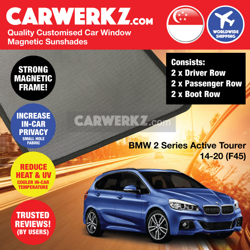 BMW 2 Series Active Tourer 2014-2020 1st Generation (F45) Customised Luxury Germany Subcompact MPV Car Window Magnetic Sunshades 6 Pieces - CarWerkz