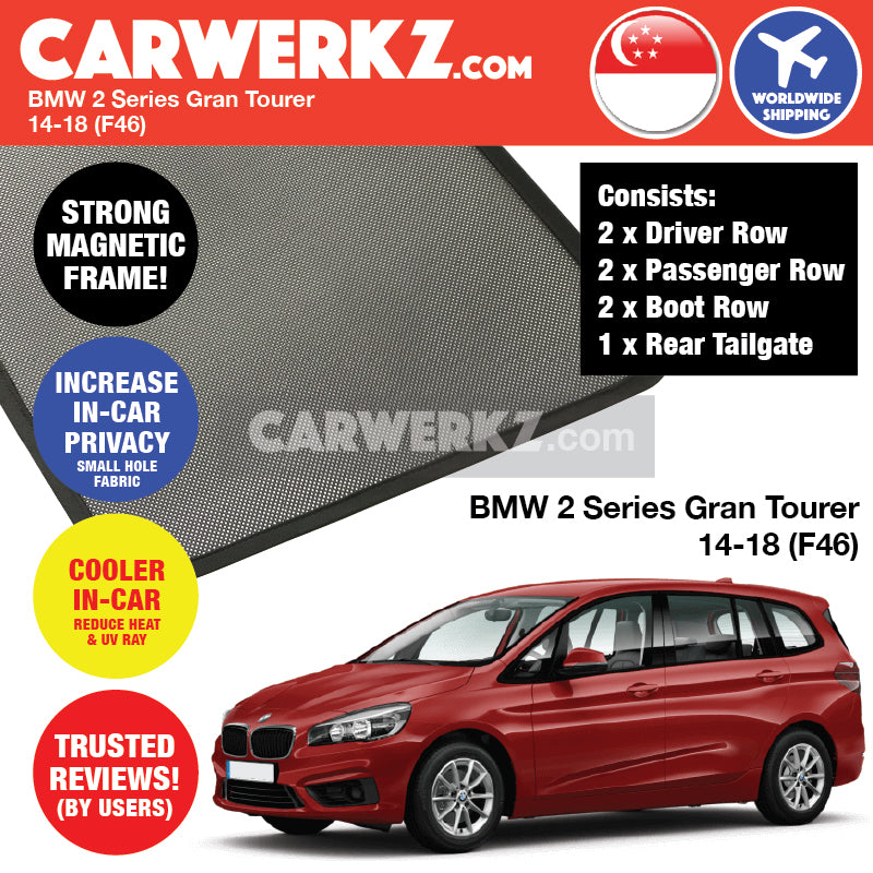 BMW 2 Series Gran Tourer 2014-2018 (F46) Customised Luxury German Compact MPV Window Magnetic Sunshades + Rear Tailgate Sunshade 1 Piece FULL SET - CarWerkz