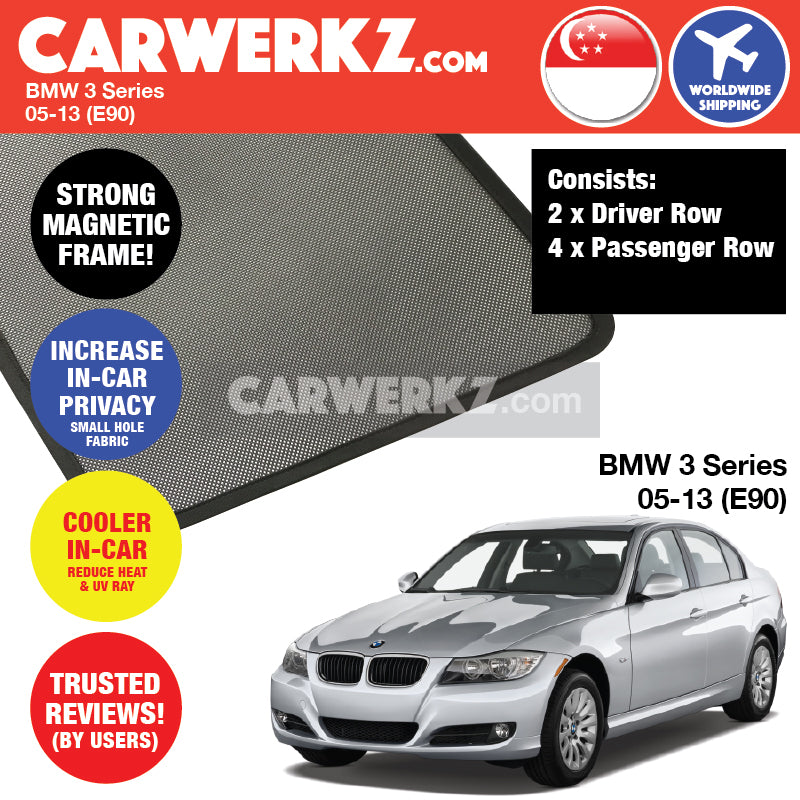 BMW 3 Series 2005-2013 5th Generation (E90) Customised Luxury German Sedan Car Window Magnetic Sunshades 6 Pieces - CarWerkz