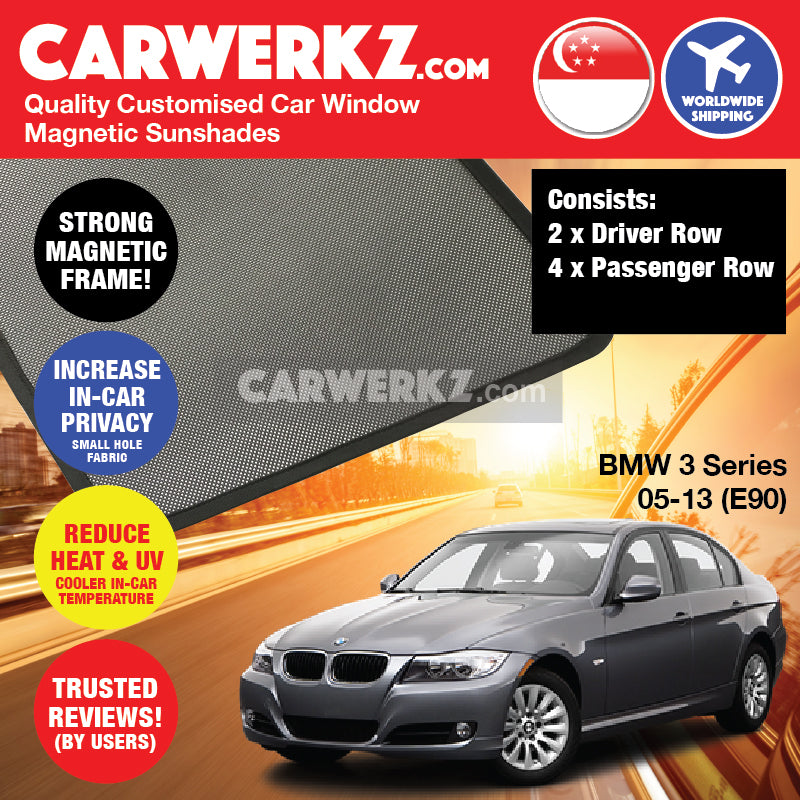 BMW 3 Series 2004-2013 5th Generation (E90) Customised Luxury Germany Sedan Car Window Magnetic Sunshades - CarWerkz