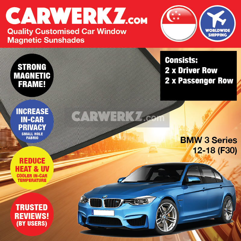 BMW 3 Series 2012-2018 6th Generation (F30) Customised Luxury German Sedan Car Window Magnetic Sunshades 4 Pieces - CarWerkz
