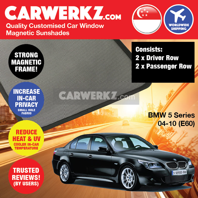 BMW 5 Series 2004-2010 5th Generation (E60) Customised Luxury German Sedan Car Window Magnetic Sunshades 4 Pieces - CarWerkz