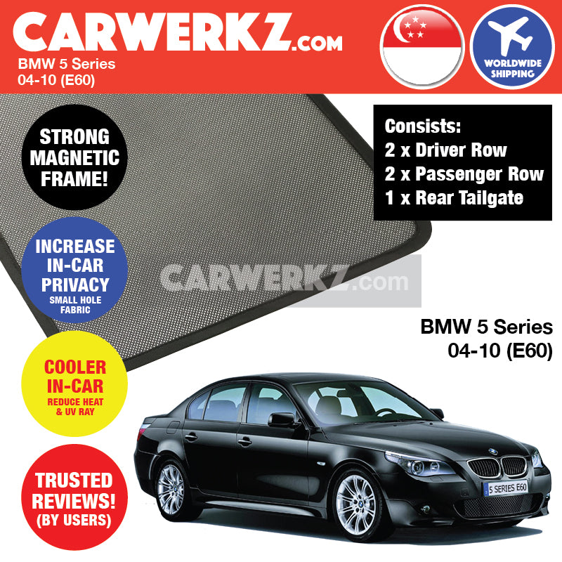 BMW 5 Series 2004-2010 5th Generation (E60) Customised Luxury German Sedan Car Window Magnetic Sunshade + Tailgate Sunshade 1 Piece FULL SET - CarWerkz