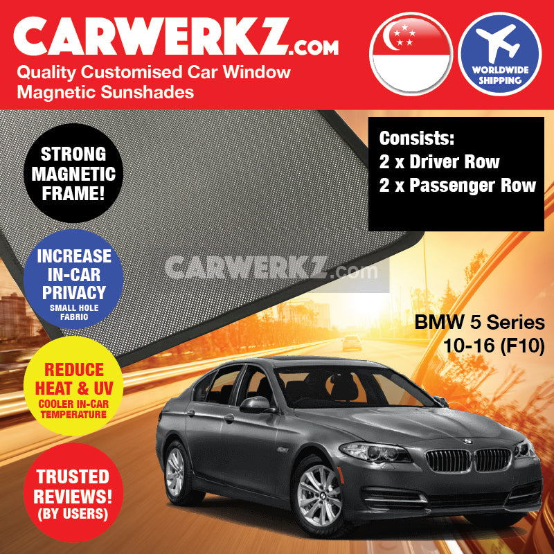 BMW 5 series 2010-2016 6th Generation (F10) Customised Luxury German Sedan Car Window Magnetic Sunshades 4 Pieces - CarWerkz